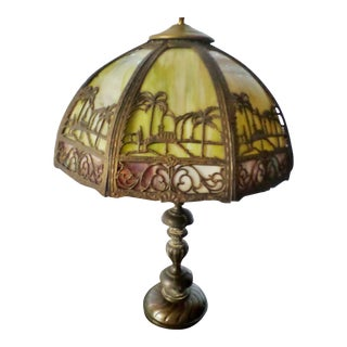 Bradley and Hubbard Antique Slag Stain Glass Table Lamp For Sale