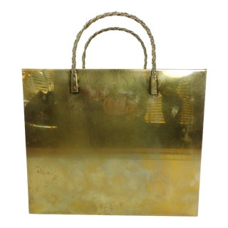 Hollywood Regency Brass Shopping Bag Magazine Rack
