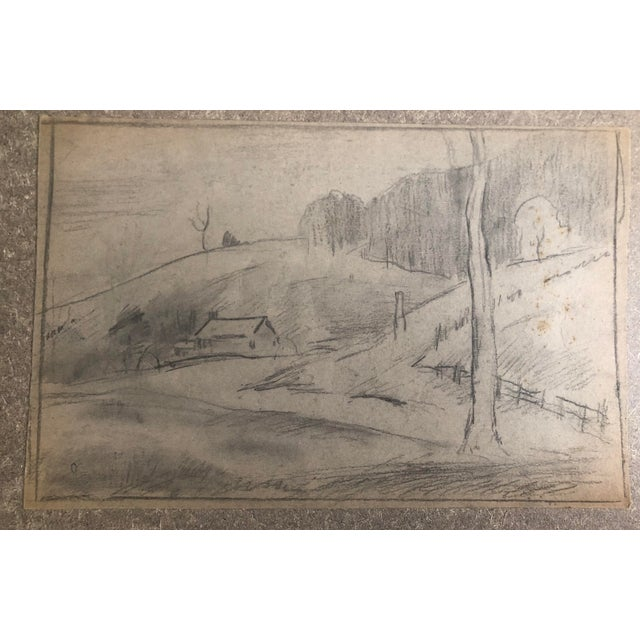 Plein air graphite drawing by Eliot Clark (1883-1980) probably painted/drawn during the 1930s. From a group of drawings...
