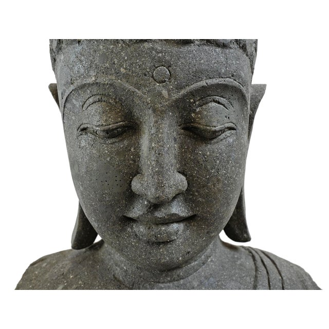 2010s Stone Carved Buddha Bust For Sale - Image 5 of 7