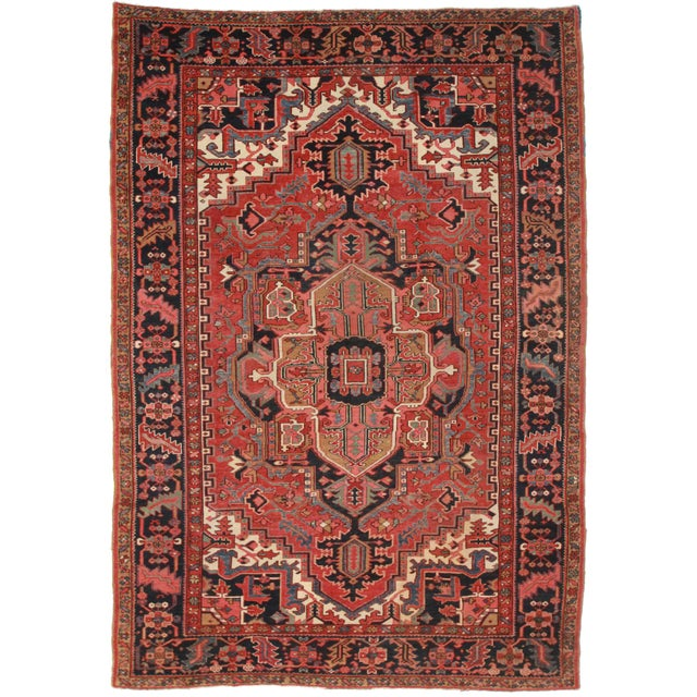 Antique Persian Hariz Rug - 7′8″ × 11′1″ - Image 1 of 2