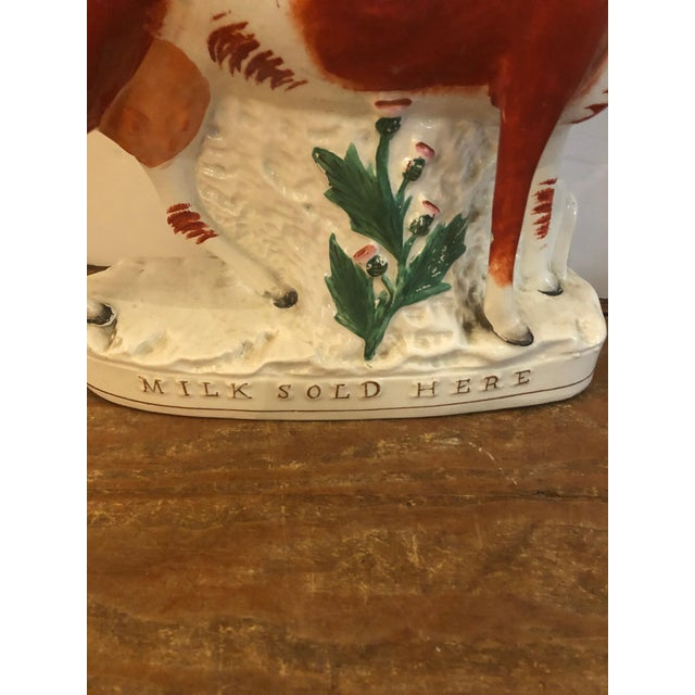 Staffordshire Antique Cow Staffordshire Spill Vases - a Pair For Sale - Image 4 of 13