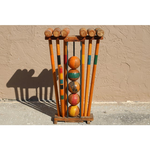 Vintage Wooden Croquet Set With Rack For Sale In Tampa - Image 6 of 8