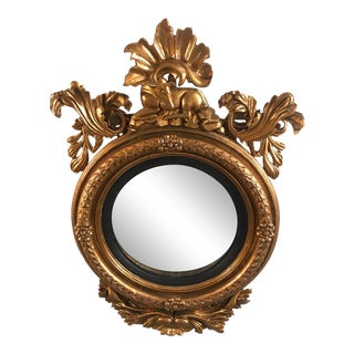 Late 18th Century 1790 Georgian Hand-Carved Wooden Convex Bullseye Mirror For Sale
