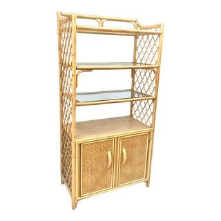 1960s Boho Chic Bamboo/Rattan Bookshelf