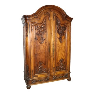 Large Carved Walnut French Bonnet Top Provincial Armoire Tv Entertainment Center For Sale