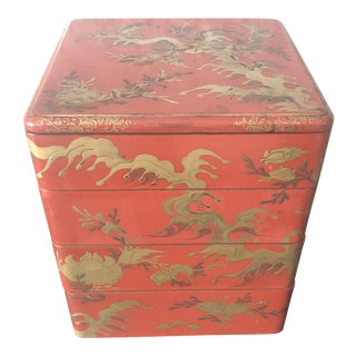 Mid 18th Century Antique Japanese Lacquer Stacking Bento Box For Sale
