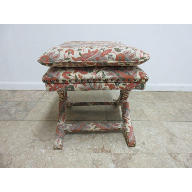 Fabric Custom Upholstered Ottoman Stool For Sale - Image 7 of 7