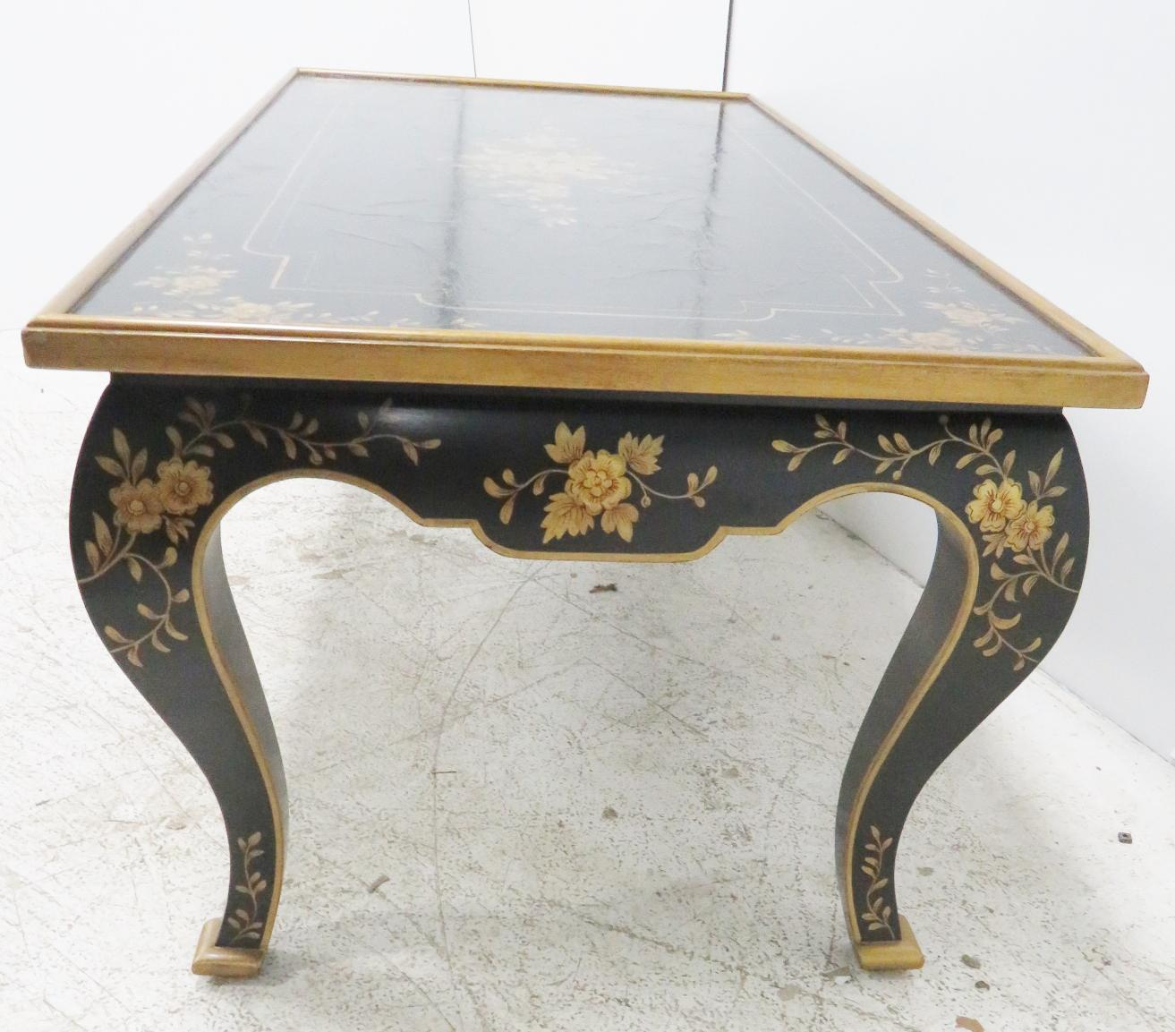 Charmant Black Chinoiserie Leather Top Coffee Table With Overall Gold Floral  Decoration.