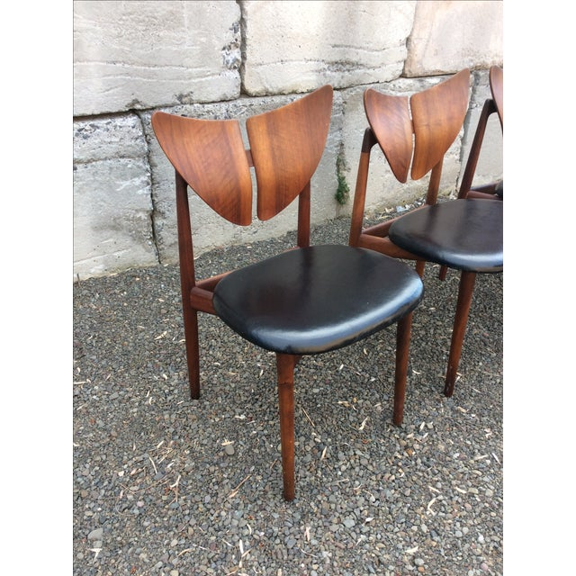 Ostervig Teak Leather Butterfly Chairs - Set of 5 - Image 5 of 9