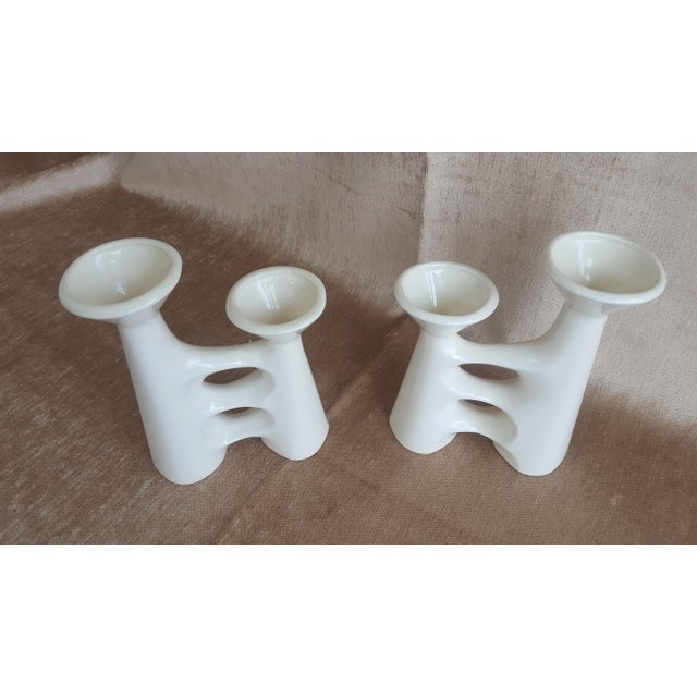 Vintage Modernist Ceramic Candle Holders - A Pair - Image 4 of 9
