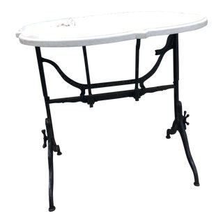 Industrial Cast Iron Drafting Table With Stone Top For Sale