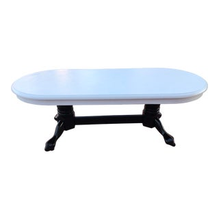 White Oak Oval Coffee Table W/ Black Claw-Foot Base For Sale