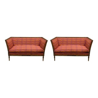 Pair of Fruitwood Lewis Mittman French Neo-Classical Style Settees For Sale