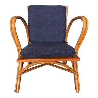 Vintage Ficks Reed Bent Bamboo Arm Chair For Sale