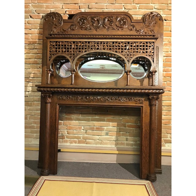 Late 19th Century Highly Carved Oak Fireplace Mantel For Sale - Image 12 of 12