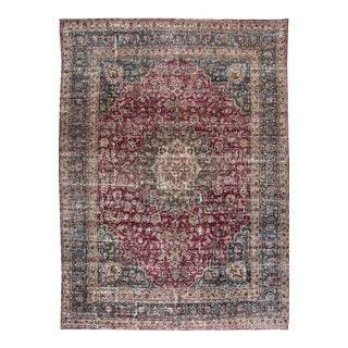 Early 20th Century Vintage Mashad Style Wool Rug For Sale