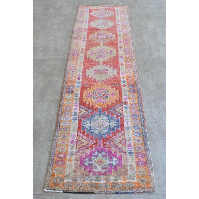 Mid-Century Modern Hand-Made Turkish Runner Rug. Muted Colors Tribal Herki Rug Runner Hallway Decor - 2′9″ × 11′4″ For Sale - Image 3 of 10