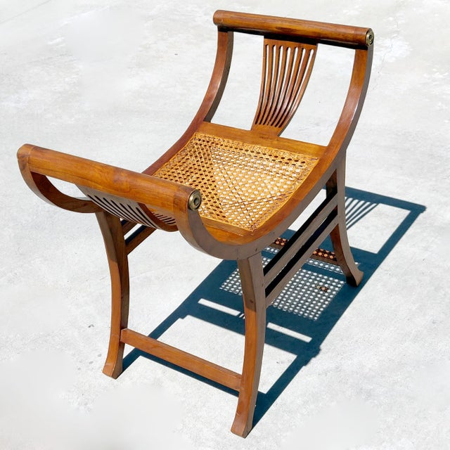 Arts & Crafts 19th C. Hand-Crafted Italian Mahogany & Wicker Curule Form Savonarola Bench For Sale - Image 3 of 7