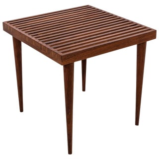 Midcentury Modern Slat Wood Side or End Table For Sale