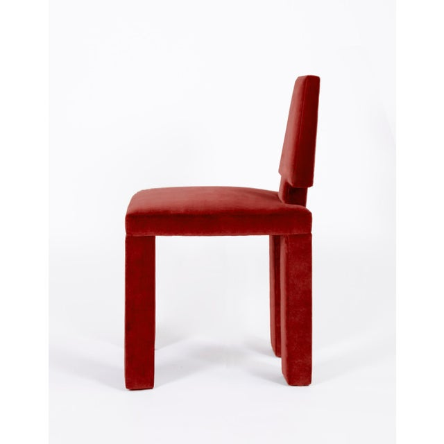 Contemporary Dining Chairs in Crimson Cotton Velvet - Set of 6 For Sale In Dallas - Image 6 of 7