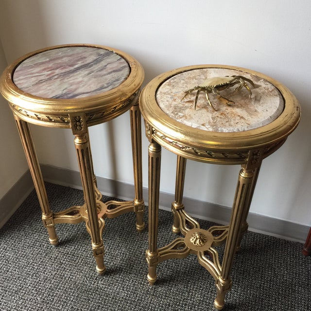 Neoclassical Style Gilt Side Tables - A Pair - Image 7 of 7