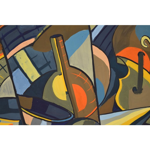 Abstract 1950s Vintage Dick Fort Cubist Gouache Abstract Shapes Painting For Sale - Image 3 of 9