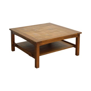 Stickley Mission Collection Oak Tile Top Square Coffee Cocktail Table For Sale