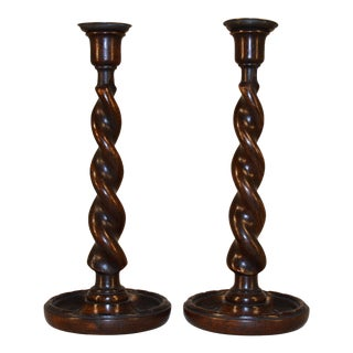 19th C English Twist Candlesticks - a Pair For Sale