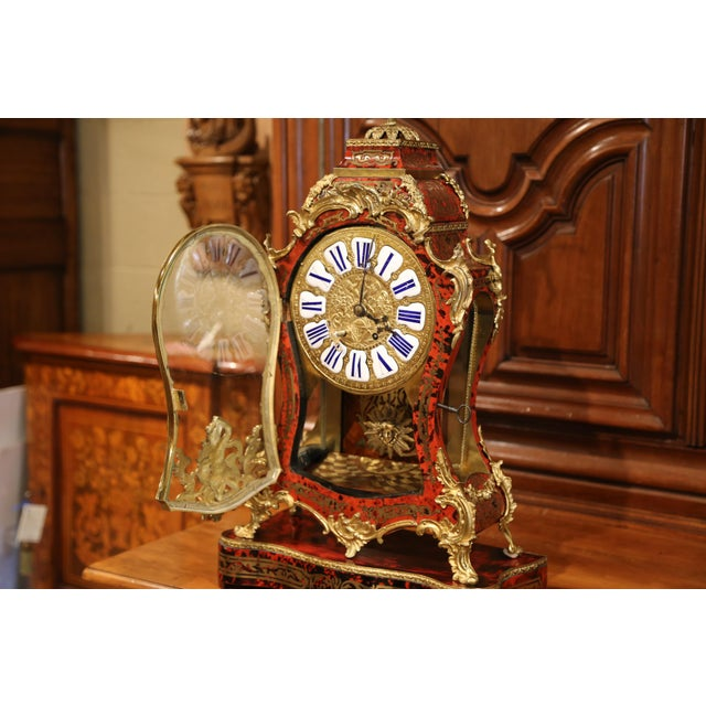 Mid-20th Century French Tortoiseshell and Bronze Boulle Mantel Clock With Base For Sale - Image 4 of 11