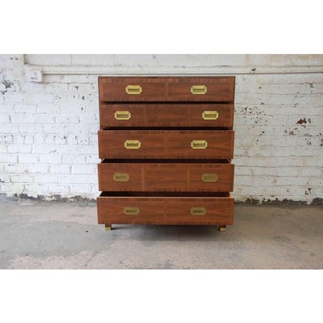 Brown Baker Furniture Milling Road Campaign Style Highboy Dresser For Sale - Image 8 of 10