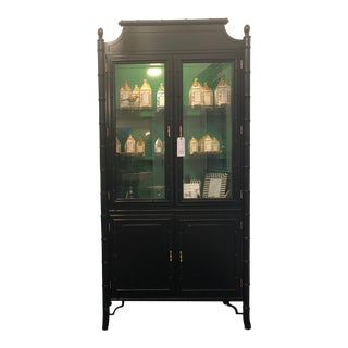 1950s Mid-Century Modern Bamboo China Cabinet For Sale