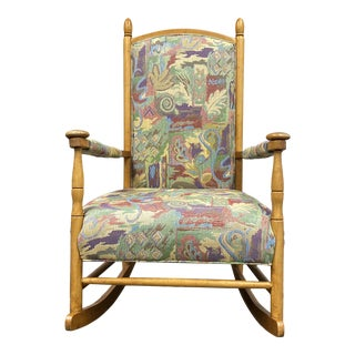 Late 20th Century Sam Moore Colorful Upholstered Maple Rocking Chair For Sale