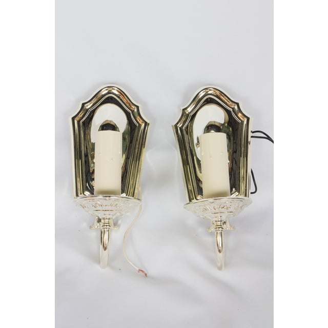 Neoclassical 1920s Silver Plated Sconces - a Pair For Sale - Image 3 of 5