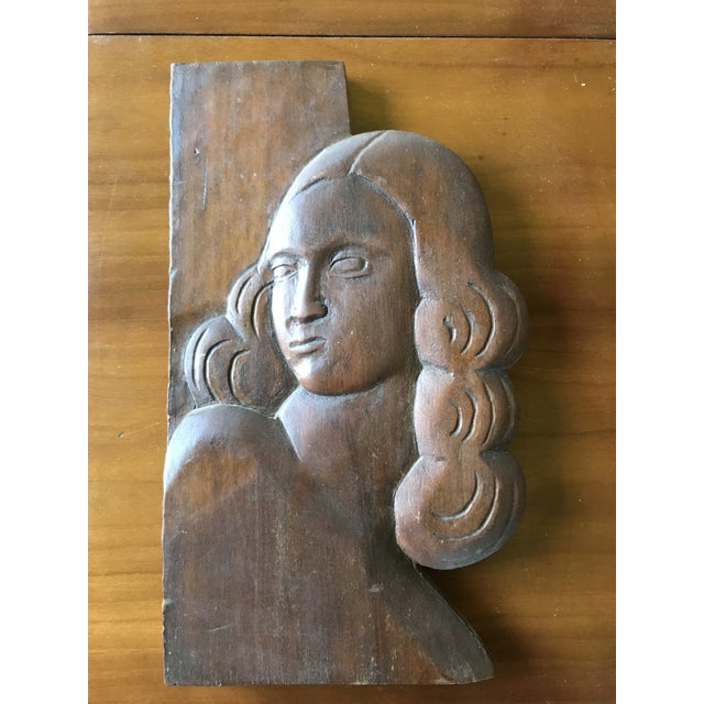 Sienna Folk Art Relief Carving of a Woman For Sale - Image 8 of 9