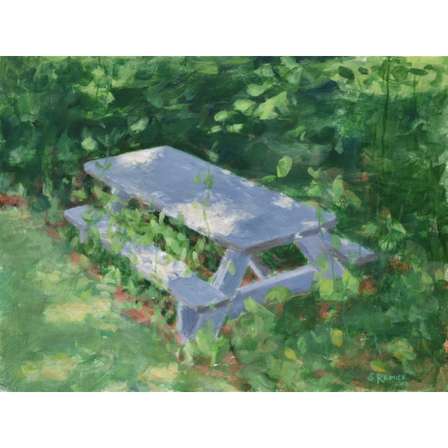 """Forgotten Picnic Table"" Original Painting For Sale - Image 9 of 9"