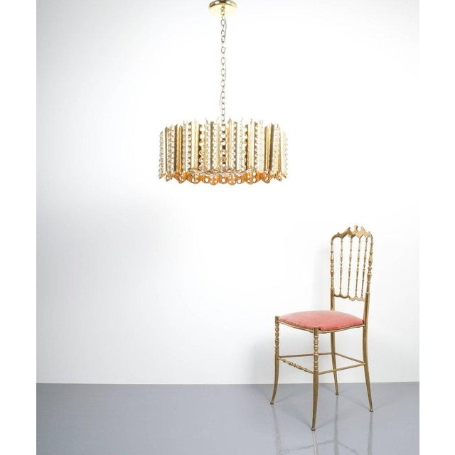 Mid-Century Modern Large Gold-Plated Brass Glass Chandelier Lamp Attributed to Gaetano Sciolari For Sale - Image 3 of 9