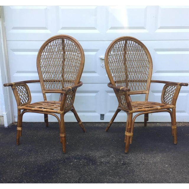 Vintage Modern Bamboo & Rattan High Back Chairs For Sale - Image 4 of 11