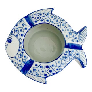 Vintage Chinoiserie Fish Shape Hand Painted Porcelain Ashtray For Sale