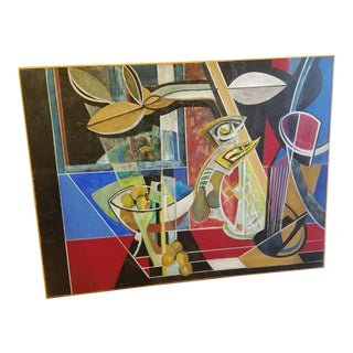 Mid-Century Modern Stetson Oil on Canvas For Sale