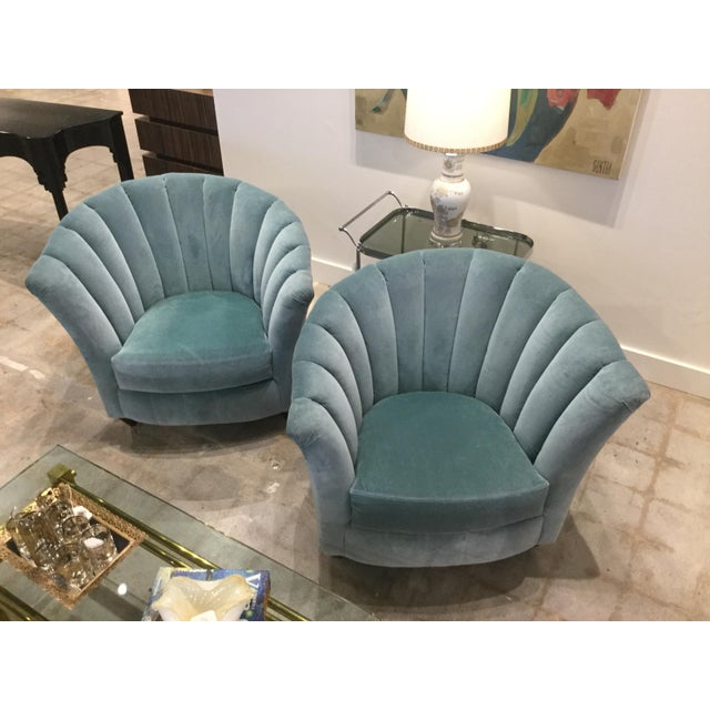 Blue Velvet Chairs- A Pair For Sale - Image 13 of 13