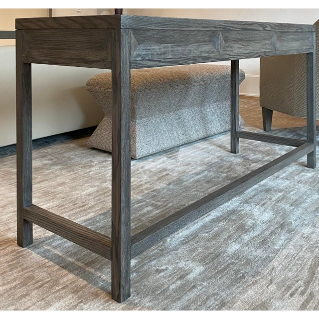 Wood Transitional Gray Wooden Writing Desk For Sale - Image 7 of 8