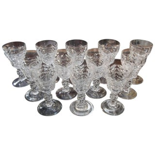 1950's Vintage Hand-Cut Small Wine Glasses- Set of 12 For Sale