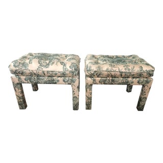 Upholstered Floral Stools - a Pair For Sale