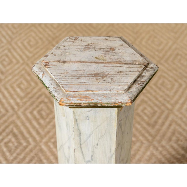 Traditional Vintage Six Sided Wooden Column For Sale - Image 3 of 6