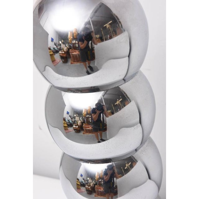 Chrome Pair of Kovacs Stacked Chrome Ball Lamp, 1970s, Usa For Sale - Image 7 of 9