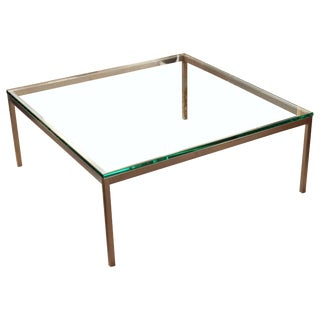Vintage Mid-Century Modern Original Knoll Metal & Glass Coffee Table For Sale