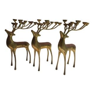 Brass Deer Candleholders - Set of 3 For Sale
