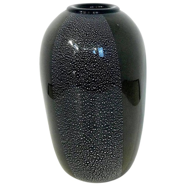 Black and Silver Murano Glass Vase, by Ghisetti Murano For Sale