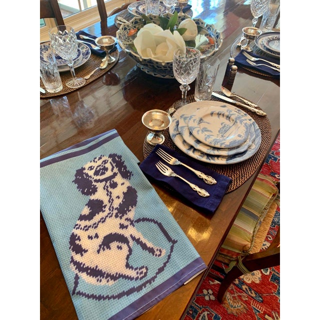 Custom Made Staffordshire Blue Linen Cotton Tea Towels - a Pair For Sale - Image 6 of 10